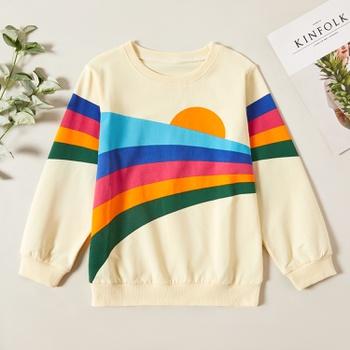 Stylish Rainbow Striped Sweatshirt