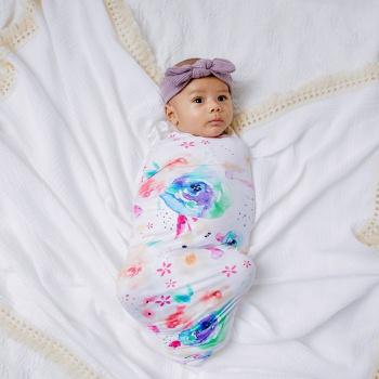 Baby Floral Print Cute Swaddle Blankets Hat Soft Sleeping Blanket Wrap Set Newborn Baby Bedding Accessories