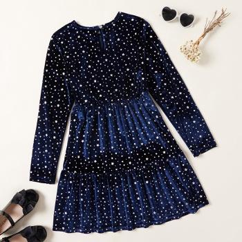 Kid Girl Elegant Velvet Star Dress
