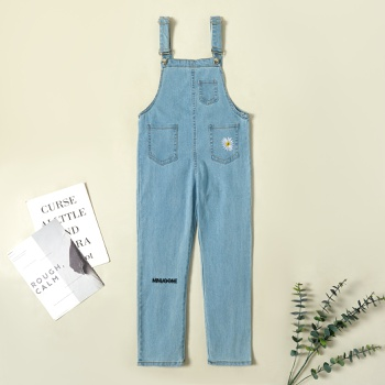 Trendy Daisy Embroidered Denim Pocket Suspender Pants