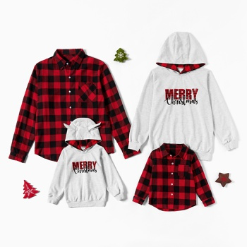 Merry Christmas Series Plaid 100% Cotton Family Matching Tops(Plaid Button Front Shirts - Hoodies Sweatshirts)