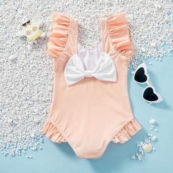 Kids Girl Bowknot Ruffled Swimsuit