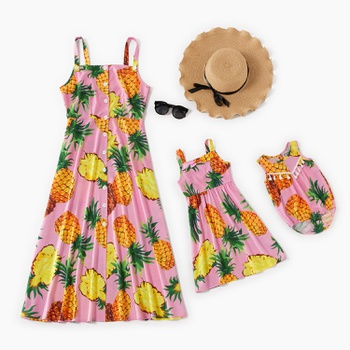 Pineapple Print Front-button Tank Dresses for Mommy and Me