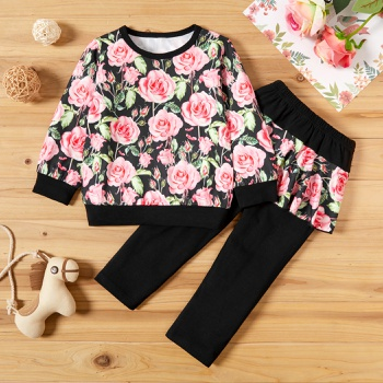 2-piece Baby / Toddler Floral Pullover and Pantskirt Set