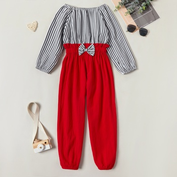 Pretty Striped Bowknot Jumpsuit