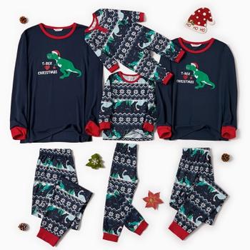 Family Matching Dinosaur T-REX Print Christmas Pajamas Sets (Flame Resistant)