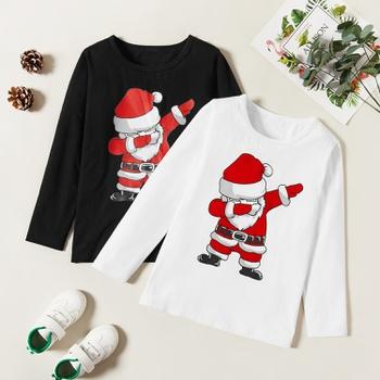 Trendy Christmas Santa Print Longsleeves Tee