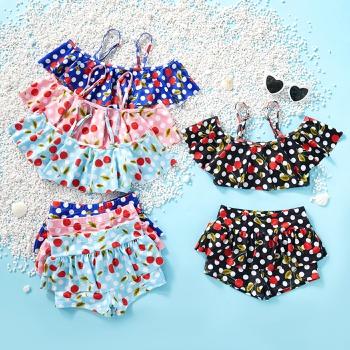 Beautiful Polka Dots Suspender Ruffled Top and Bottom Set