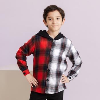 Kid Boy Color-block Plaid Shirt