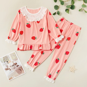 Cute Ruffled Lace Strawberry Allover Print Longsleeves Tee and Pants Set