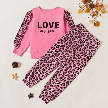 Kids Girl Leopard Letter Sweatshirt and Pants Set