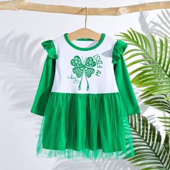Baby / Toddler Clover Ruffled Mesh Dress of St. Patrick's Day