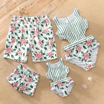 Family Look Floral Print Stripe One-piece Matching Swimsuits