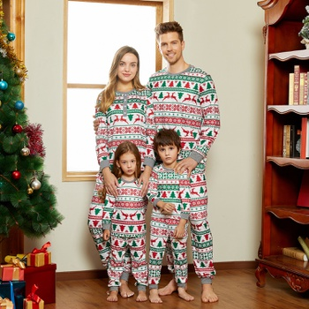 Christmas Tree and Reindeer Print Family Matching Pajamas Sets (Flame Resistant)