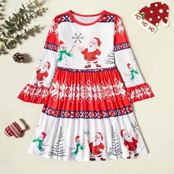 Beautiful Christmas Santa Print Ruffled Long-sleeve Dress