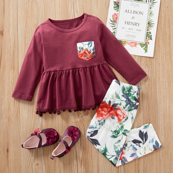 2-piece Baby / Toddler Ruffled Solid Top and Floral Pants Set