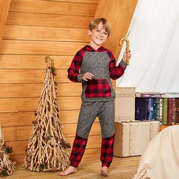 Fashionable Plaid Front Pocket Sweatshirt and Pants Set