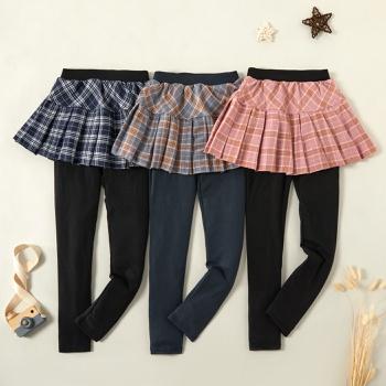 Fashionable Plaid Faux-two Skirtleggings