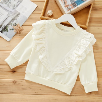 Baby / Toddler Lace Decor Ruffled Solid Pullover
