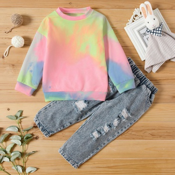 2-piece Baby / Toddler Tie-dye Top and Jeans Set