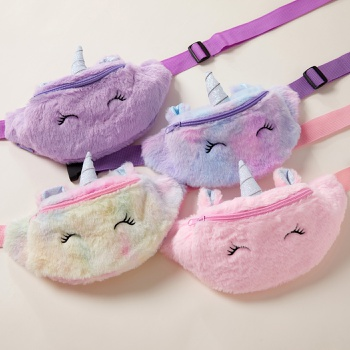 Fleece Cartoon Unicorn Shoulder Bag for Girl