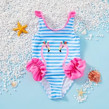 Toddler Girl One Piece flamingo Stripe Swimsuit