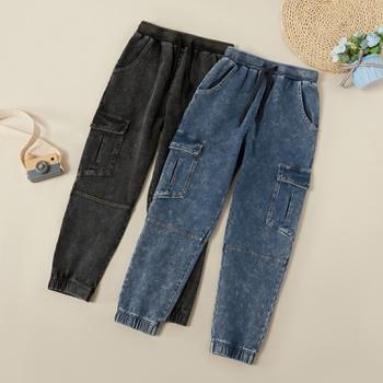 Trendy Solid Denim Pocket Narrow-leg Jeans