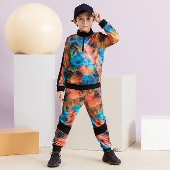 Trendy Tie Dye Stand Collar Zipper Sweatshirt and Pants Set