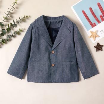 Fashionable Solid Lapel Collar Button Pocket Suit Jacket