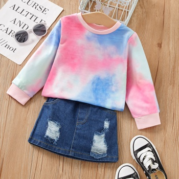 2-piece Baby / Toddler Tie-dye Top and Denim Skirt Set