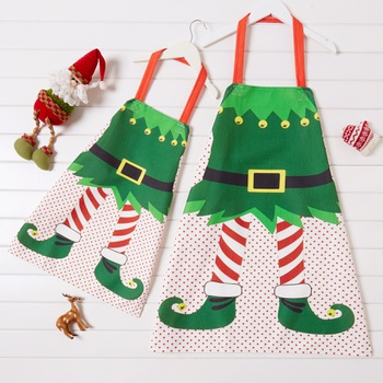 Elf Print Cotton and Linen Family Aprons