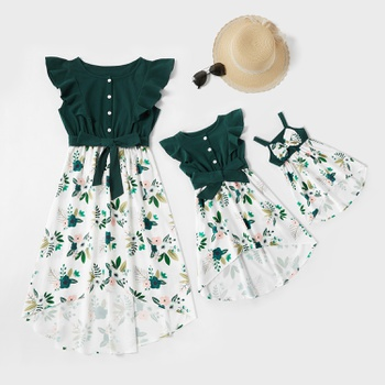 Mommy and Me Ruffle Floral Printed Stitching Solid Dresses