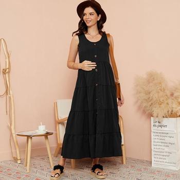 Maternity Round collar Plain Black Maxi A Sleeveless Dress