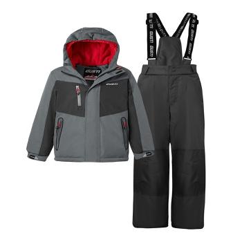 2-piece Kid Colorblock Splice Hooded Jacket and Snow Bib Ski Suit