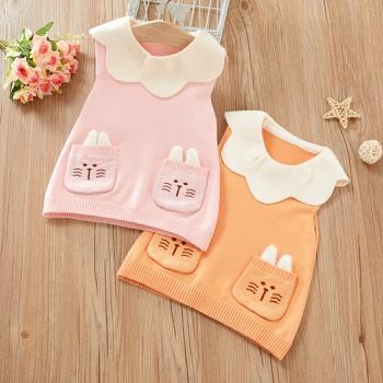 Baby / Toddler Rabbit Flounced Collar Sleeveless Knitwear