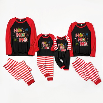 Family Matching ' HO HO HO ' Print Striped Christmas Pajamas Sets(Flame Resistant)