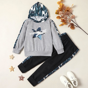 Trendy Stars Letter Print Camouflage Hooded Sweatshirt and Pants Set