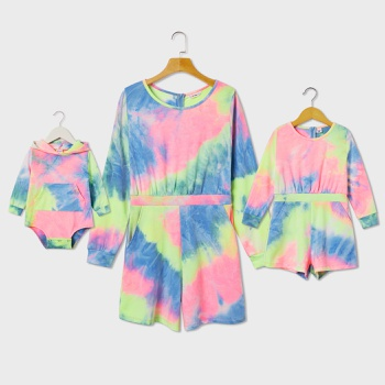 Tie Dye Long-sleeve Rompers for Mommy and Me