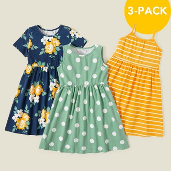 3-piece Trendy Flower Allover Polka Dots Print Striped Dresses