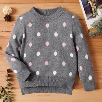 Baby / Toddler Casual Polka Dots Long-sleeve Knitwear
