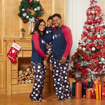 Christmas Santa ' HO HO ' Family Matching Pajamas Sets (Flame Resistant)