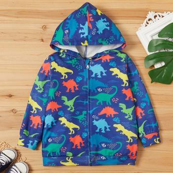 Toddler Boy Animal Dinosaur Allover Hooded Jacket