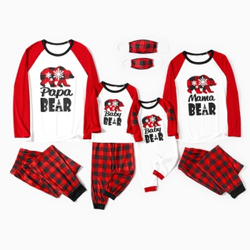 Family Matching Plaid Bear and Letter Print Christmas Pajamas Sets (Flame Resistant)