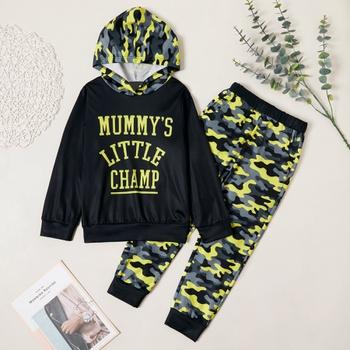 Stylish Letter Print Camouflage Hooded Sweatshirt and Pants Set