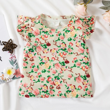 1pc Baby Girl Short-sleeve Sweet Floral Tee