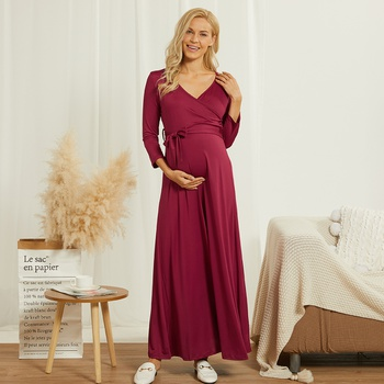 Pregnant women with seven-point sleeve front knot lactation dress