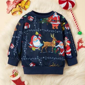 Baby / Toddler Christmas Santa Claus Elk Snowflake Pattern Pullover