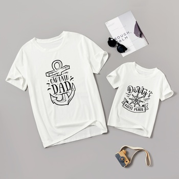 Captain Letter Print White Tops for Daddy and Me