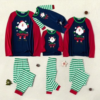 Family Matching Santa Print Striped Christmas Pajamas Sets (Flame Resistant)