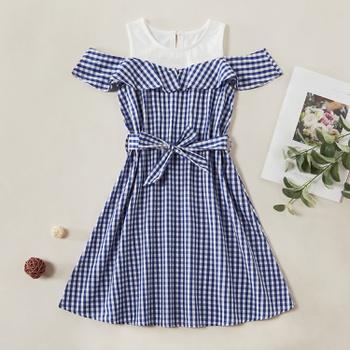 Pretty Plaid Ruffled Bowknot Dress